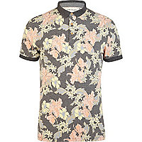 Grey floral contrast trim polo shirt