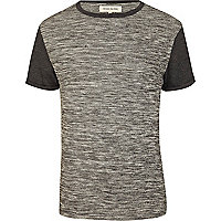 Grey marl colour block t-shirt