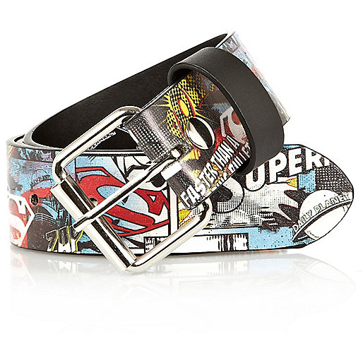 Blue Superman comic print belt