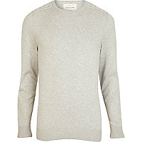 Grey contrast shoulder patch jumper