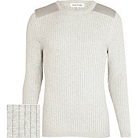Grey ribbed shoulder patch jumper