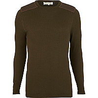 Green ribbed shoulder patch jumper