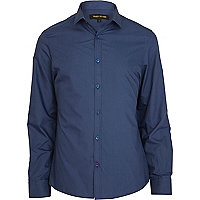 Blue long sleeve poplin shirt