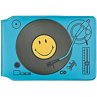 Blue dj smiley print card holder