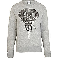 Grey To The Black diamond print sweatshirt