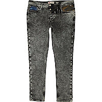 Black acid wash Sid skinny stretch jeans