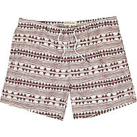 Red zig zag print swim shorts