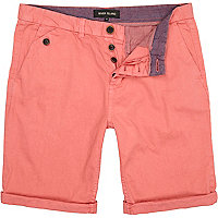 Pink turn up chino shorts