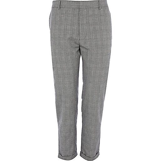 Grey check ankle grazer trousers