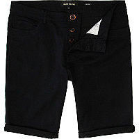 Black skinny stretch shorts