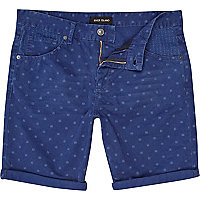 Blue ditsy print turn up shorts