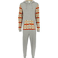 Grey two-tone aztec print onesie