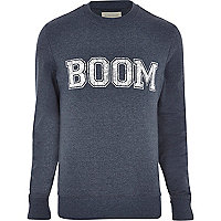 Blue boom print printed sweatshirt