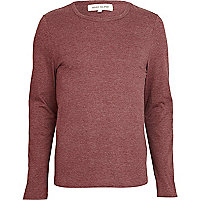 Red marl crew neck long sleeve t-shirt