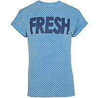 Blue polka dot fresh print t-shirt