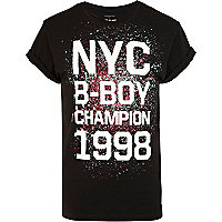 Black NYC b-boy champion print t-shirt