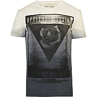 Blue dip dye triangle print t-shirt