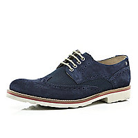 Navy Base brogue bowling shoes