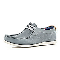 Grey suede Base lace up shoes
