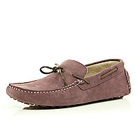Purple suede boat shoes