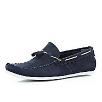 Navy Base suede tassel loafers