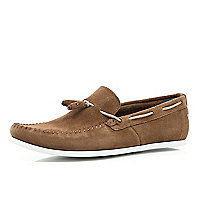 Brown Base suede tassel loafers