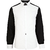 Black and white colour block shirt