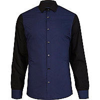Navy and black colour block shirt