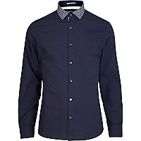 Navy contrast floral collar long sleeve shirt