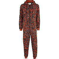 Orange tiger print onesie