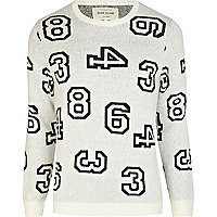 Ecru scattered numbers knit jumper