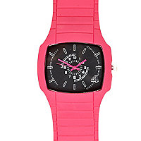 Pink rubber square face watch