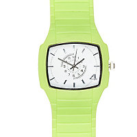 Green square face rubber watch