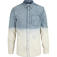 Acid wash dip dye denim shirt
