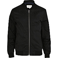 Black snake panel casual bomber jacket