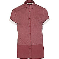 Red ditsy print colour block shirt