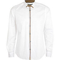 White contrast trim long sleeve shirt