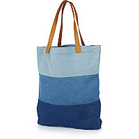 Blue colour block denim shopper bag