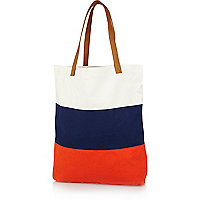 Orange colour block shopper bag