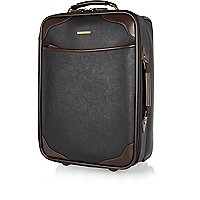 Black contrast trim wheelie suitcase
