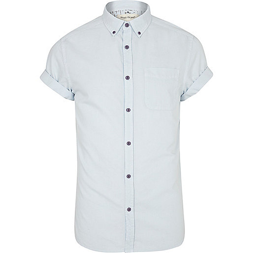 Blue pastel short sleeve shirt