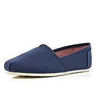 Navy slip on plimsolls