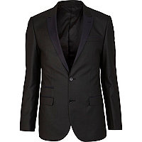 Black contrast collar slim tux suit