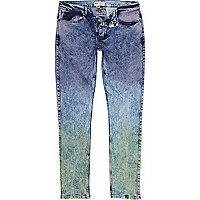 Mid wash coloured dip dye Flynn skinny jeans