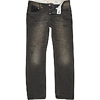 Grey distressed Dean straight jeans