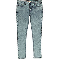 Teal acid wash Flynn skinny jeans