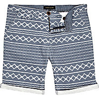 Blue aztec stripe turn up shorts