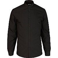 Black wing collar formal shirt