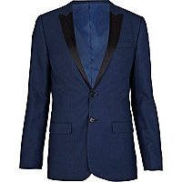 Blue contrast collar skinny suit jacket
