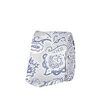 Grey and blue paisley jacquard tie